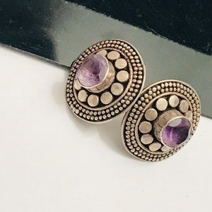 Sterling Silver 925 Purple Crystal Stone Earrings